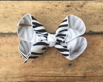 Zebra Bow - Zebra Hair Bow - Zebra Hairbow - Zebra Print - Zebra Hair Clip - Girls bow - Black and White Bow - Zebra - Animal Print Bow