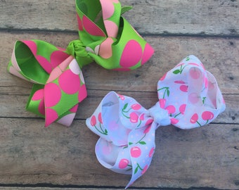 Hair Bow - Cherry Hair Bow - Cherry Hairbow - Dots Hair Clip - Summer Bow - Cherry Bow - Dots Bow - Summer Hair Bow - Cherries - Dots - Pink