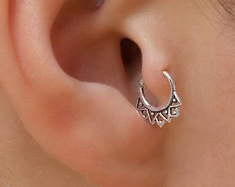 18g silver ear tragus. tragus piercing. helix piercing. tragus hoop. helix ring. daith earrings