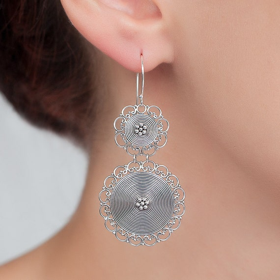 Sterling silver Filigree earrings. round silver earrings. Unique bohemian, hand made, traditional filigree earrings.