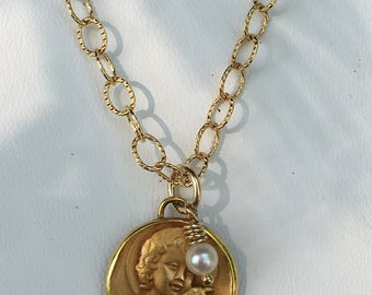 """18"""" Gold filled necklace with vintage St. John the Baptist medal from France with gold filled lobster clasp."""