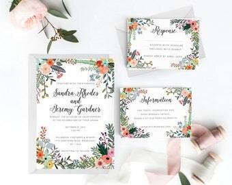 Botanical Wedding Invitation Suite, Wedding Invitation Printable, Invitation Set, Wedding Invitation Rustic, Letter or A4 (Item code: P774)