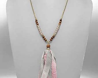 Pink & Gray Color Fabric Tassel Necklace