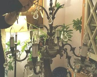 Antique French Bronzed Chandelier - French Flea Market - Romantic Lighting - Romantic Bedroom - Antique Crystal Chandelier - Entryway Light