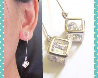 925 Silver Thin Bar Dangle Clip-on Earrings  6E  Cube encloses Crystal Clip on Earrings, Wedding clip-ons, rhinestone bridal clip earring