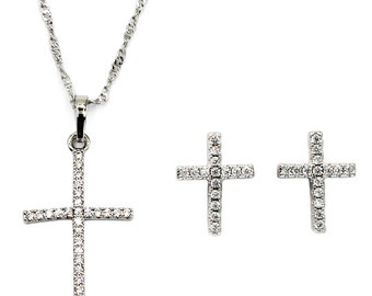 Micro-set crystal cross necklace earrings set