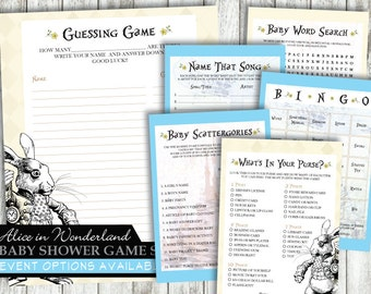 Alice in Wonderland 'White Rabbit Blue ' *Digital Printable Baby Shower Game Cards* EVENT & PACKAGE Options