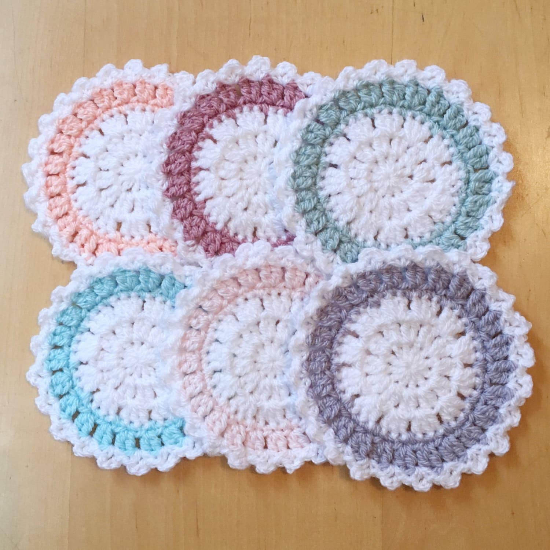 Cute Coaster Set Set Of 6 Coasters Crochet Coaster Set
