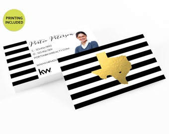 Texas Gold Real Estate Printed Business Cards - business cards,business card design,custom business card,cards,printing,faux gold foil, kw