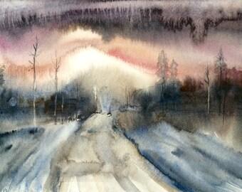 Abstract landscape, landscape watercolor, winter landscape, landscape painting, winter trees, abstract tree watercolor, watercolor trees