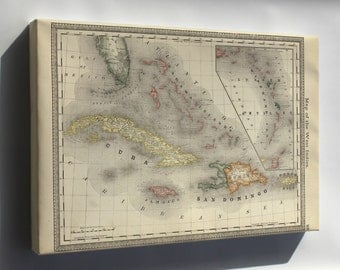 Canvas 24x36; Map Of The West Indies Cuba Caribbean 1881
