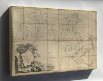 Canvas 24x36; Map Of Massachusetts Proper 1801