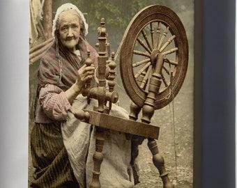 Canvas 24x36; Irish Spinning Wheel C1890