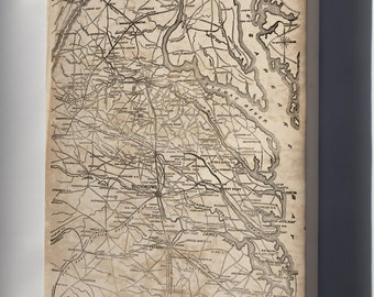 Canvas 16x24; Map Of Eastern Virginia 1862