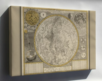 Canvas 16x24; Astrology Zodiac Constellation Map 1700