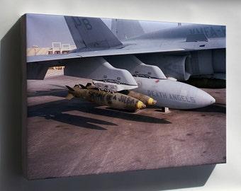 Canvas 16x24; Fa-18C Hornet F-18 Vmfa-235 Death Angels Desert Storm 1991