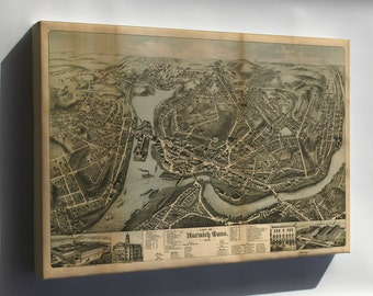 Canvas 16x24; Map Of City Of Norwich, Conneticut 1876