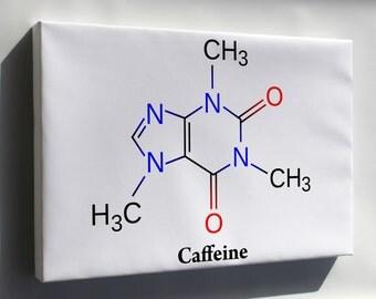 Canvas 16x24; Caffeine Molecule Diagram