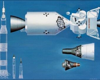 16x24 Poster; Nasa Spacecraft From Mercury Gemini Apollo