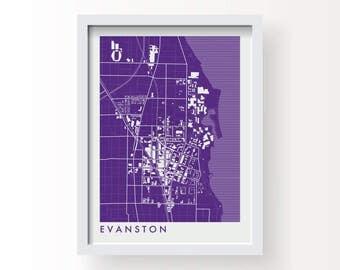 EVANSTON ILLINOIS Map Print - graphic drawing art poster Northwestern University Wildcats