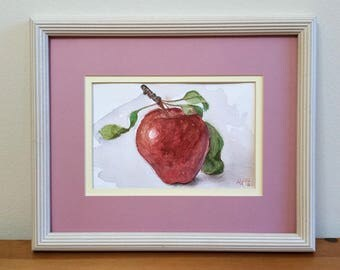 Red Delicious Apple Original Watercolor Painting Still Life by Aleksey Vaynshteyn