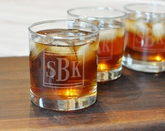 Set of 2 Groomsman Whiskey Glasses - Monogram Rocks Glasses - Etched Scotch Glasses - Personalized Whiskey Glass - Cool Groomsman Gift