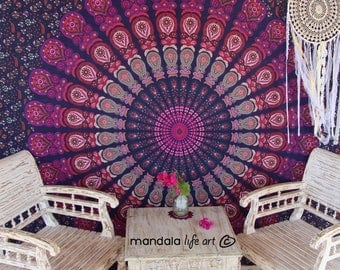 Boho Tapestry Home Decor, Large Tapestry Wall Hanging, Fabric Wall Tapestry, Mandala Wall Throw