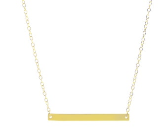 Horizontal Bar Necklace / Sterling Silver / 14k Gold over Silver