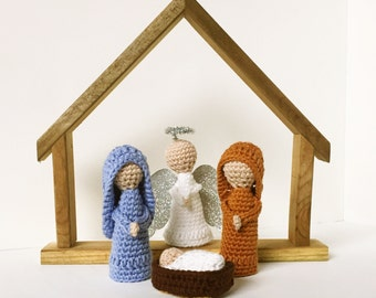 Nativity Set - Fingurines, Finger Puppets - Mary, Joseph, Jesus, and Angel - Made to Order
