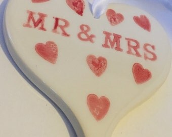 personalised hanging heart decoration: handmade ceramic heart, wedding gift, Valentine's Day gift, 9th wedding pottery anniversary, Mr & Mrs