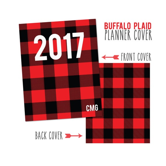 Personalized Planner Cover ~ Red Buffalo Plaid ~ Choose Cover only or Cover Set - Many Planner Sizes Available!