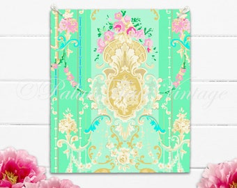 Vintage Green French Floral Graphic Art Design Instant Download no.006 Victorian Antique Wallpaper Collage Sheet DIY JPEG PalaisFleurVintage