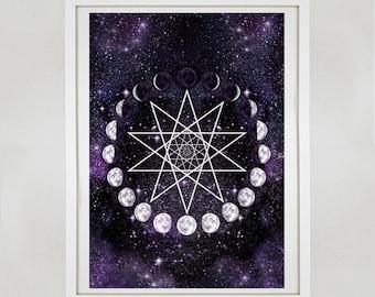 Pentagram  Print - Phases of the Moon Print - Moon Print - Moon Art - Art Print