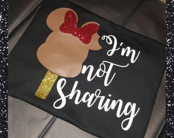 "Disney inspired, ""I'm not sharing"", Minnie ice cream bar GLITTER t-shirt."