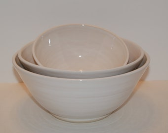 Handmade white pottery bowl SET.