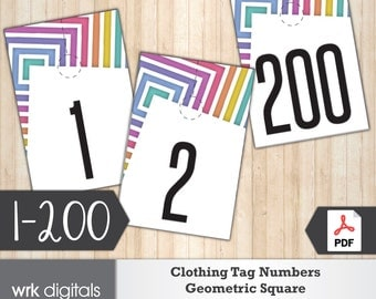 Clothing Number Tags, 1-200, Pop-Up Boutique, Fashion Consultant, Geometric Square Design, INSTANT DOWNLOAD