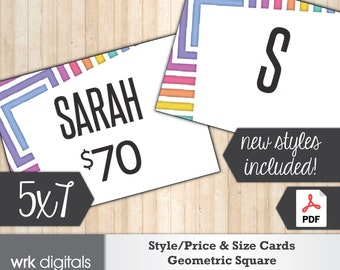 Style Price Cards 5x7 Signs, Size Card, Fashion Consultant, Geometric Square Design, PRINTABLE, INSTANT DOWNLOAD