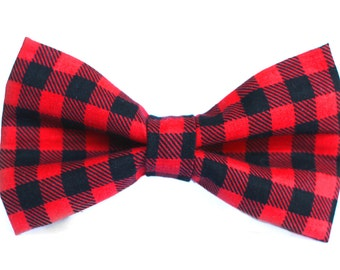 Buffalo Plaid Bow Tie | Lumberjack Bow Tie | Christmas Bow Tie | Christmas Bow Tie for Boys | Christmas Bow Tie for Dog |  Gift for Him