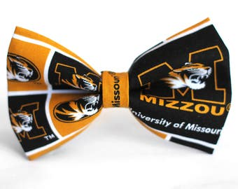 Missouri Tigers Bow Tie | College Bow Tie | Sports Bow Tie | College Team | Gift for Him | Kid Basketball Bow Tie | Coach Gift | Dog Bow Tie