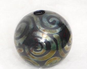 Raku ball vase - black with swirls