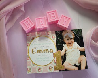 Boho Chic Baby Girl First Birthday Invitations