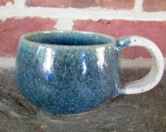 Handmade Ceramic Coffee Mug / Soup Mug - Steel Blue and White