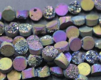 1 strand Druzy Beads, Druzy Quartz Beads,Mixcolor Round Drilled Druzy Beads,Cabochon Beads