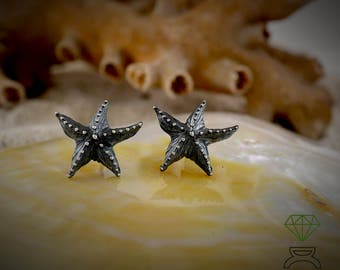 Silver Asteroid Starfish Earrings Silver Earrings