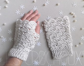 Mittens crochet - Mermaid Pearl