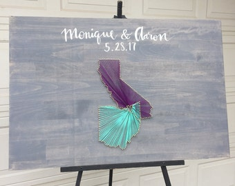 Wedding Guestbook Alternative Sign-in Board; two states string art sign with hand-painted calligraphy