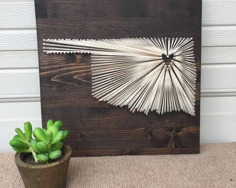 """Custom Made State String Art Sign- 12""""x12""""- Choose Any State!"""