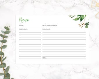 Floral Recipe Card, Recipe Card, Printable Recipe Card, Bridal Shower Recipe Card, 4x6 Recipe Cards, INSTANT DOWNLOAD