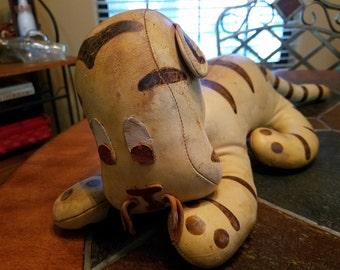 Vintage Leather Tiger Stuffed Toy