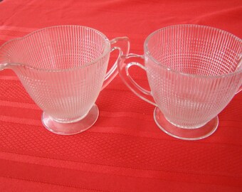 Vintage Saguenay Glass Creamer & Sugar
